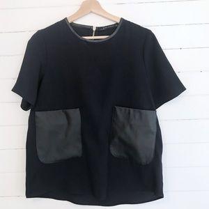 Zara Woman Navy Top with Vegan Leather Pockets